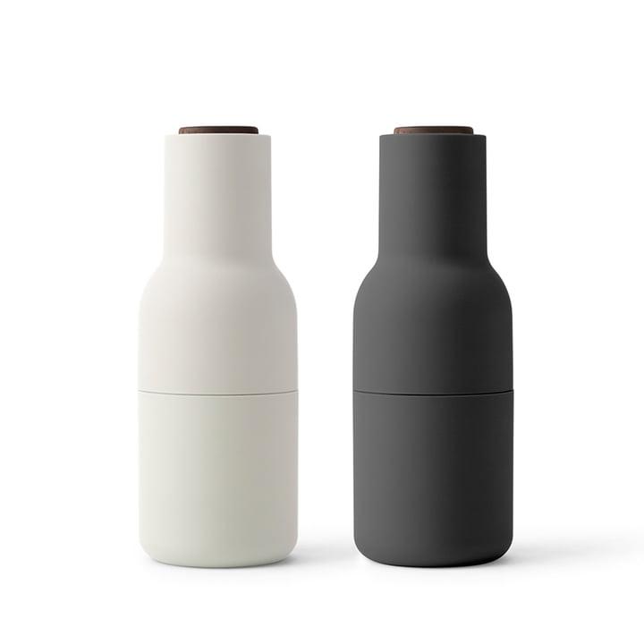 Bottle salt and pepper mills set from Menu in Ash / Carbon (wooden lid walnut)