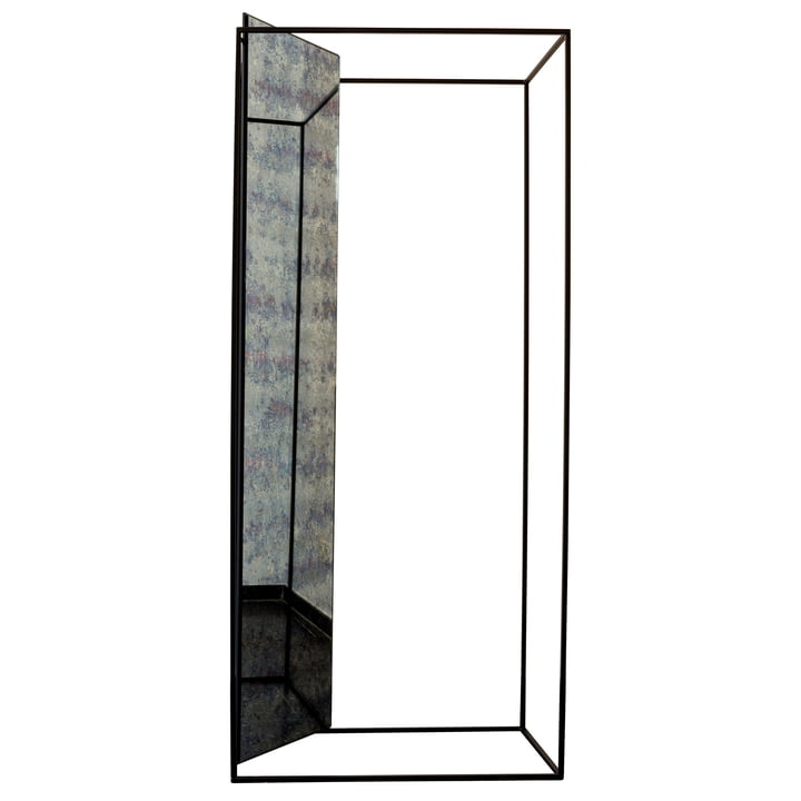 The Pulpo - Miro Mirror Hall Stand, antique glass / black (RAL 9005)
