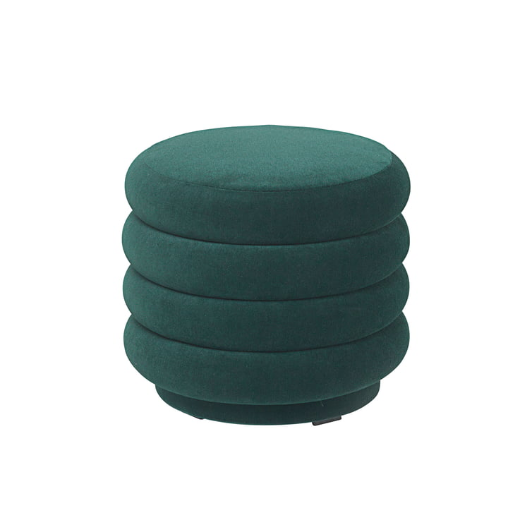 Pouf Round, Ø 42 x H 40 cm by ferm Living in Dark Green
