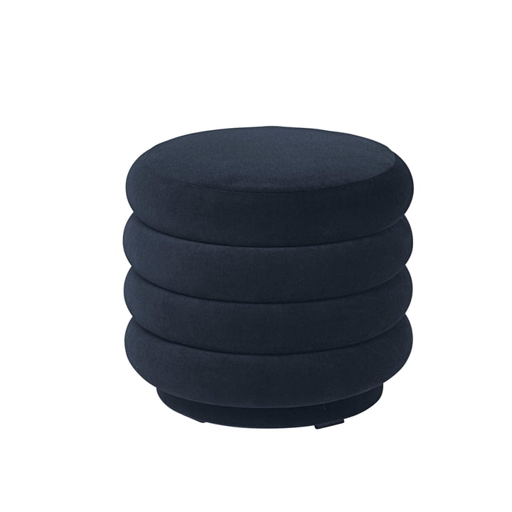 Pouf Round, Ø 42 x H 40 cm by ferm Living in Dark Blue