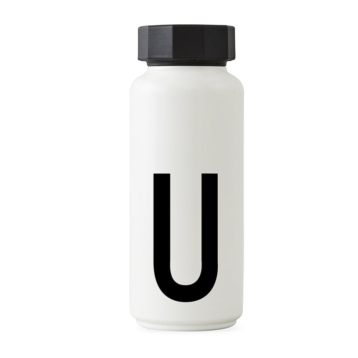AJ Thermos bottle U from Design Letters in white