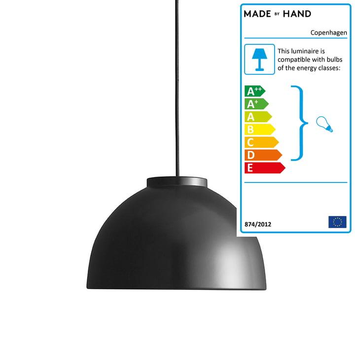 Copenhagen pendant lamp Ø 28 cm made by Hand in matt black / black