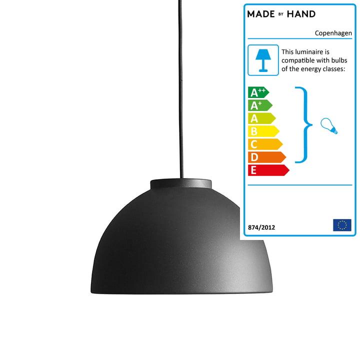 Copenhagen pendant lamp Ø 28 cm made by Hand in anthracite black / black