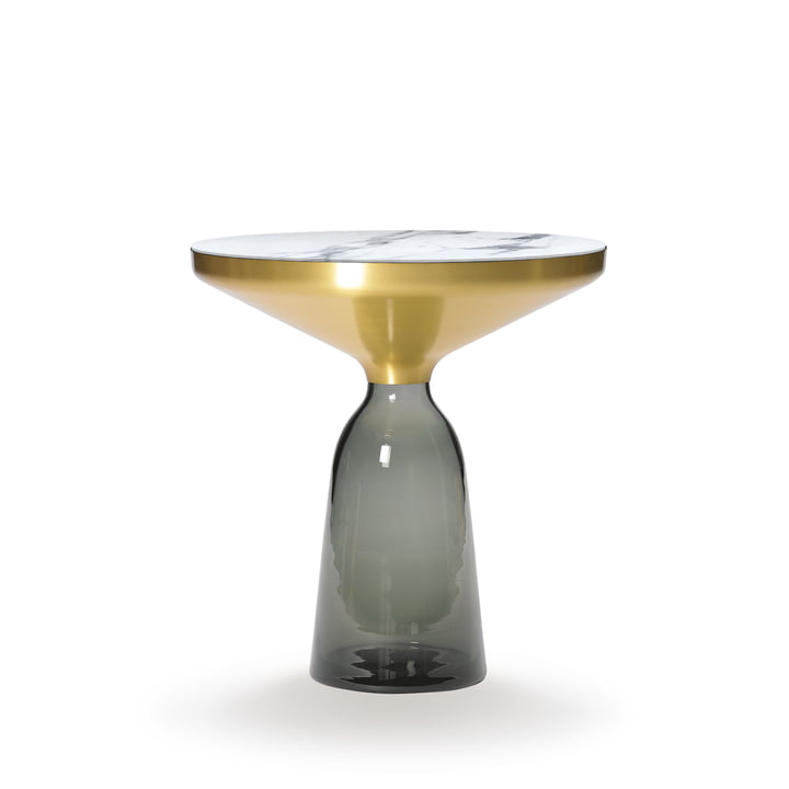 ClassiCon - Bell Side Table, brass / quarz grey / white marble (Carrara)