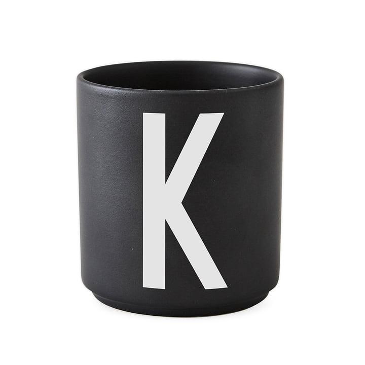 Design Letters - AJ Porcelain Cup K, black