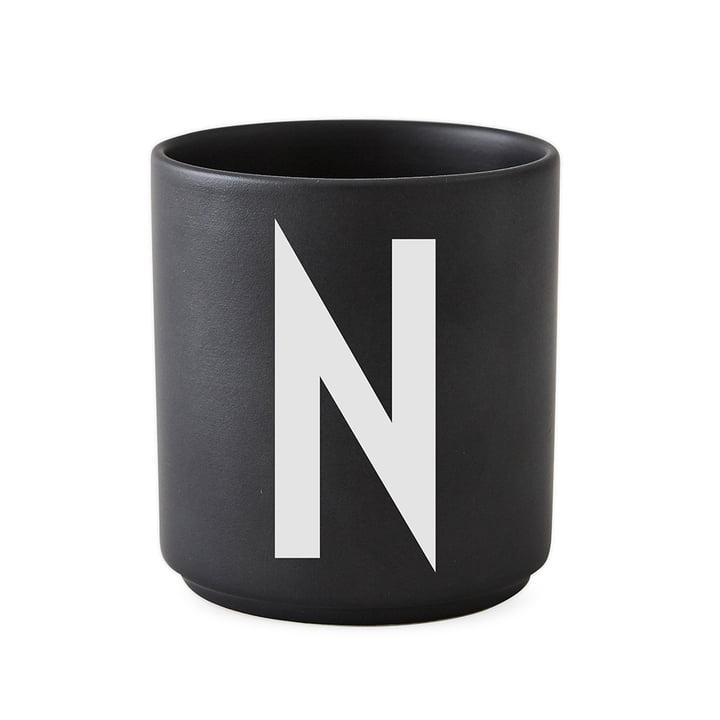 Design Letters - AJ Porcelain Cup N, black