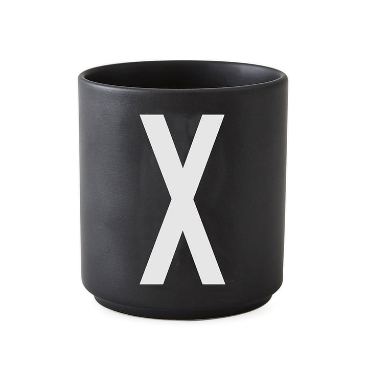 Design Letters - AJ Porcelain Cup X, black