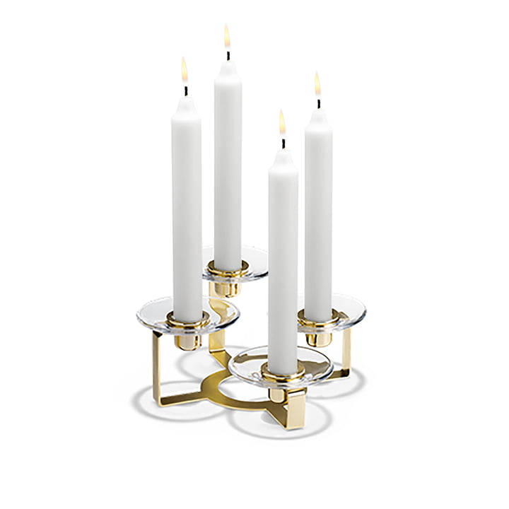 Lumi Candleholder four arms by Holmegaard in brass