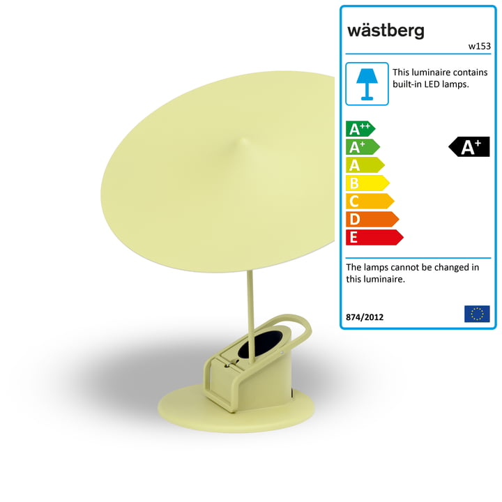 w153 île table lamp from Wästberg in light yellow