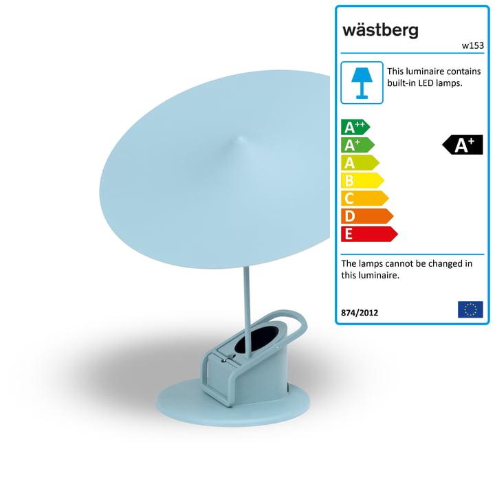 w153 île table lamp from Wästberg in sky blue