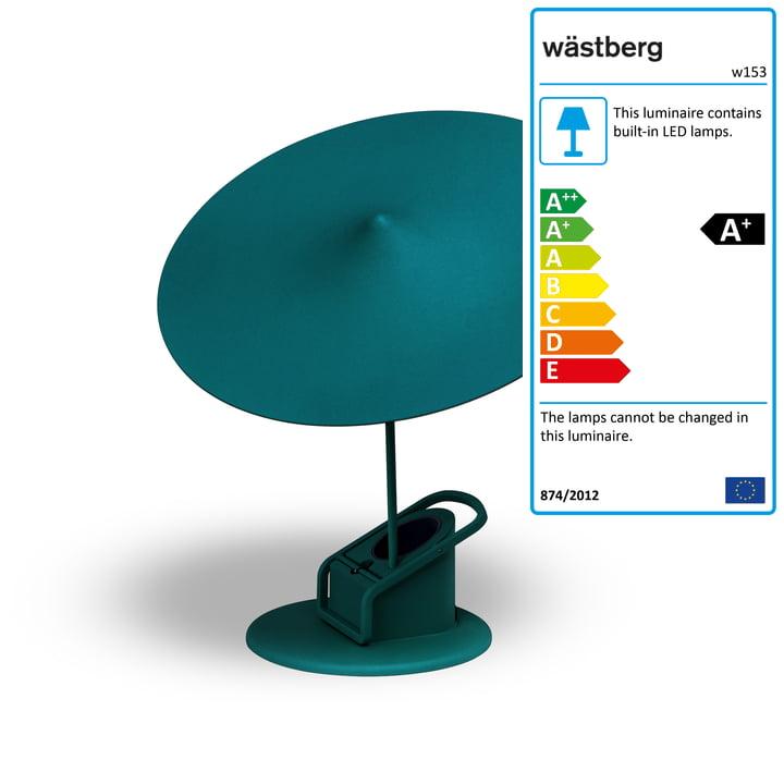w153 île table lamp from Wästberg in petrol