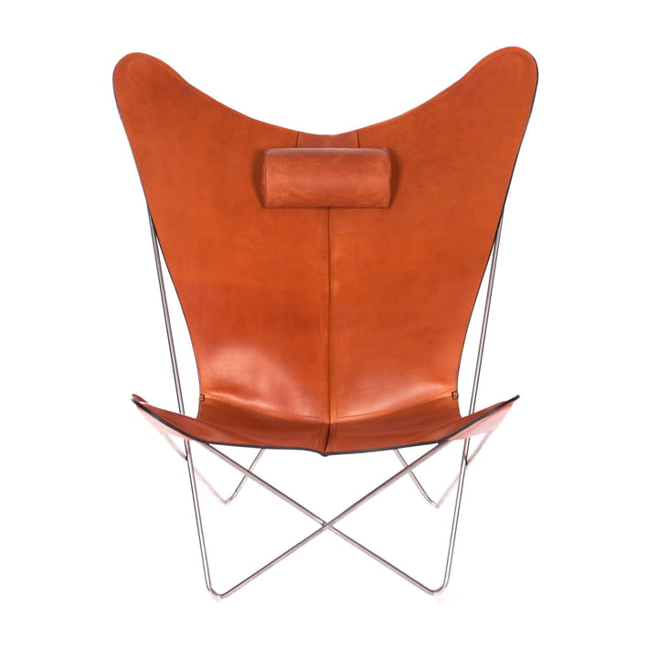 KS Chair by Ox Denmarq made from Stainless Steel / Hazelnut Leather