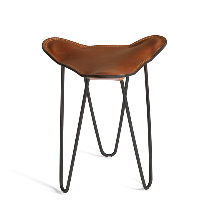 Ox Denmarq - Trifolium Stool, powder-coated steel, black / cognac leather