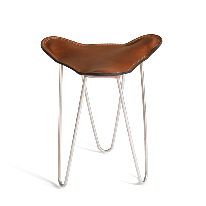Ox Denmarq - Trifolium stool, stainless steel / leather cognac