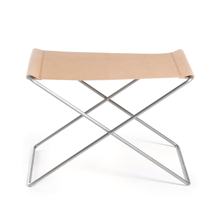 OX Stool by Ox Denmarq, Stainless Steel / Natural Leather