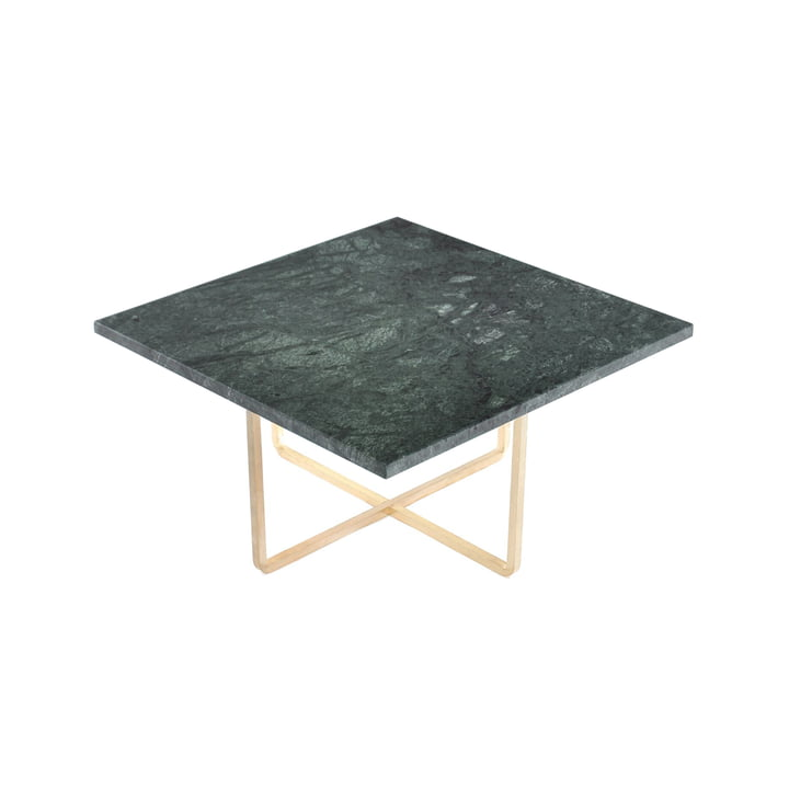 Ninety Coffee Table 60 x 60 cm by Ox Denmarq made of Stainless Steel / Green Marble
