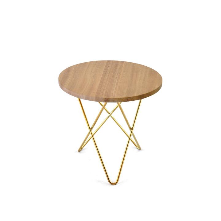 Mini O Side Table Ø 40 cm by Ox Denmarq in Brass / Oak