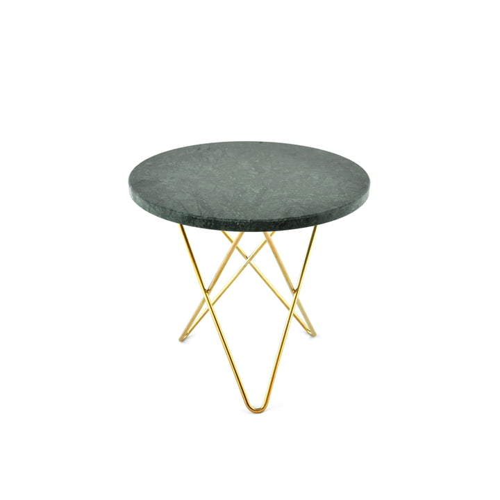 Mini O Side Table Ø 40 cm by Ox Denmarq in Brass / Green Marble