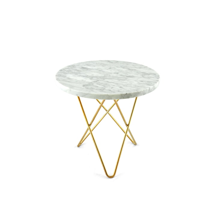 Mini O Side Table Ø 40 cm by Ox Denmarq in Brass / White Marble