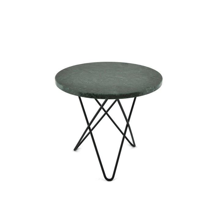 Mini O Side Table Ø 40 cm by Ox Denmark in Black Steel / Green Marble