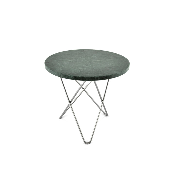 Mini O Side Table Ø 40 cm in Stainless Steel / Green Marble