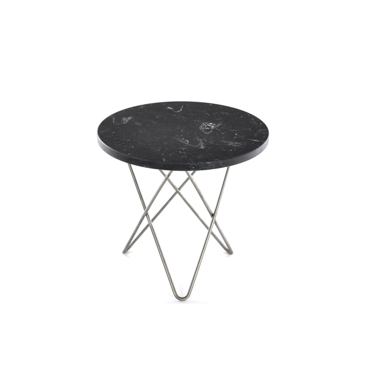 Mini O Side Table Ø 40 cm by Ox Denmarq in Stainless Steel / Black Marble