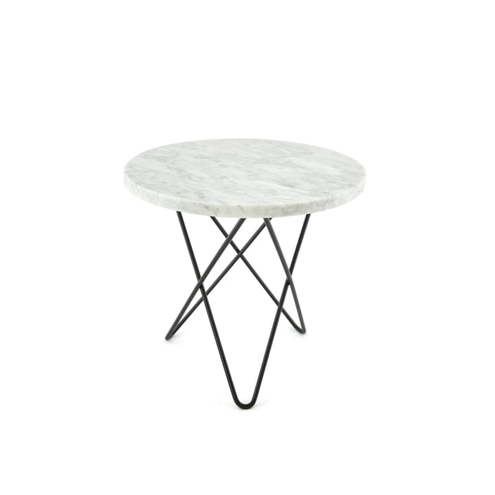 Tall Mini O Side Table Ø 40 cm by Ox Denmark in Black Steel / White Marble