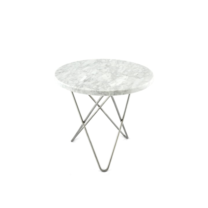 Ox Denmarq - Mini O Side Table Ø 40 cm in Stainless Steel / White Marble