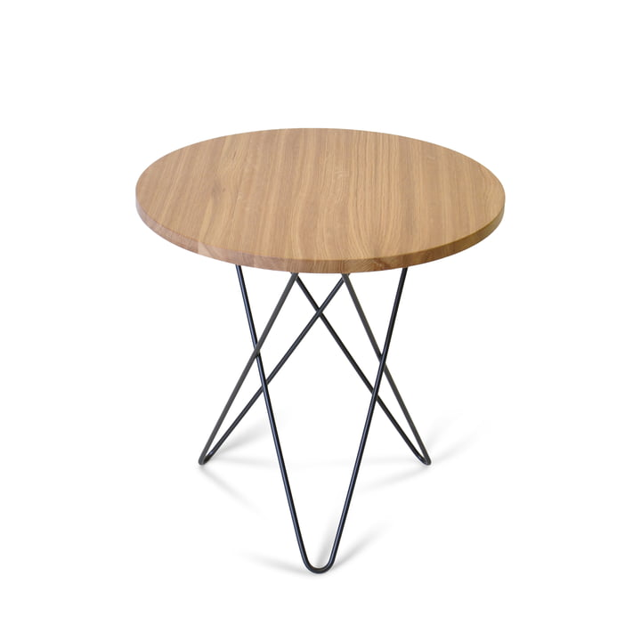 Mini O Side Table Ø 50 cm by Ox Denmark in Black Steel / Oak