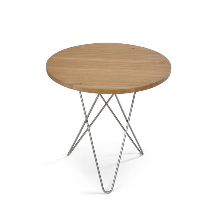 Mini O Side Table Ø 50 cm by Ox Denmarq in Stainless Steel / Oak