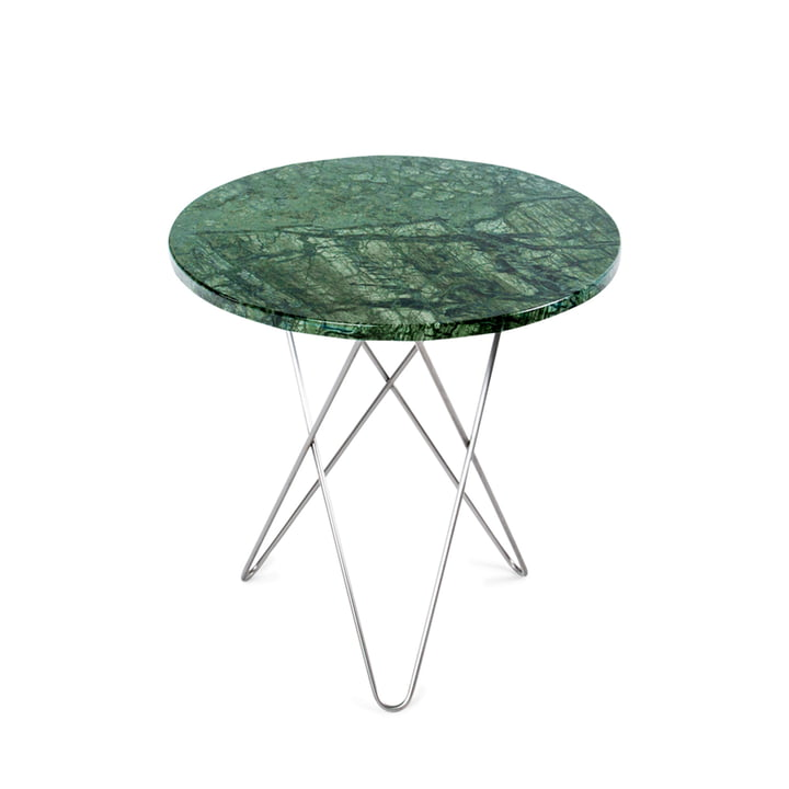 Ox Denmarq - Mini O Side Table Ø 50 cm in Stainless Steel / Green Marble