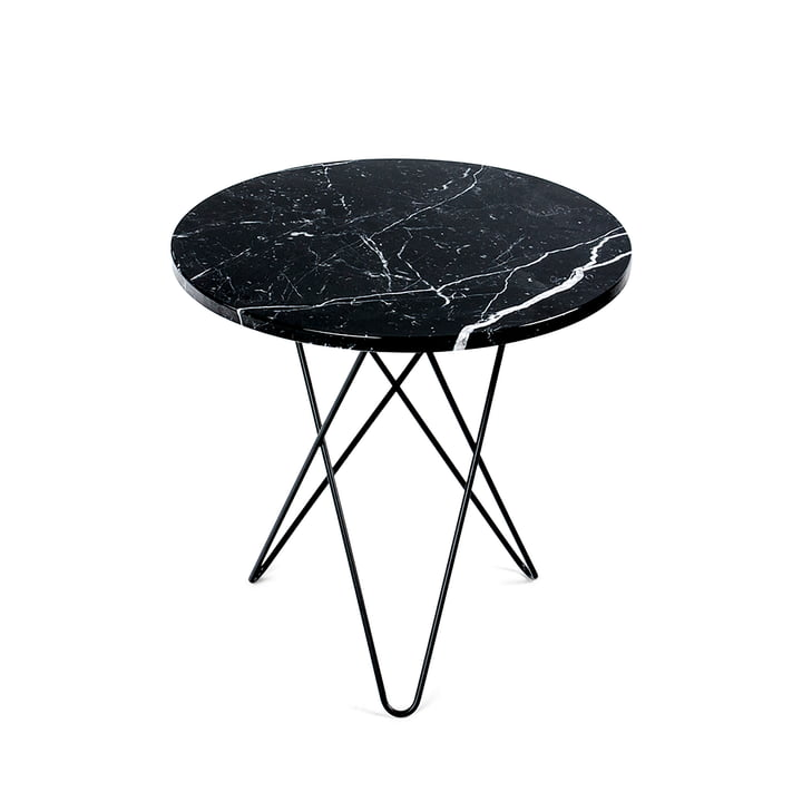 Mini O Side Table Ø 50 cm by Ox Denmark in Black Steel / Black Marble
