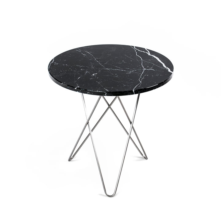 Mini O Side Table Ø 50 cm by Ox Denmarq in Stainless Steel / Black Marble