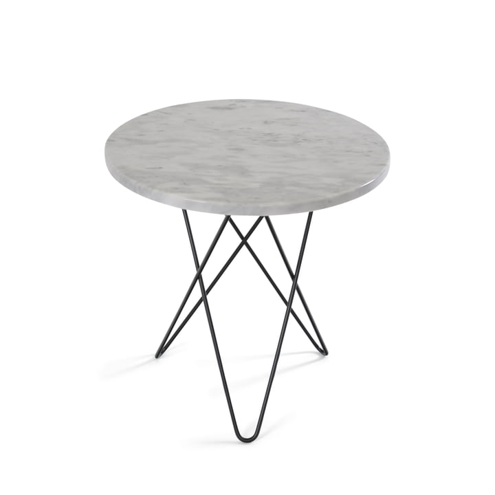Tall Mini O Side Table Ø 50 cm by Ox Denmark in Black Steel / White Marble