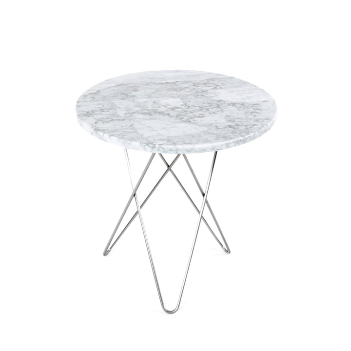 Ox Denmarq - Mini O Side Table Ø 50 cm in Stainless Steel / White Marble