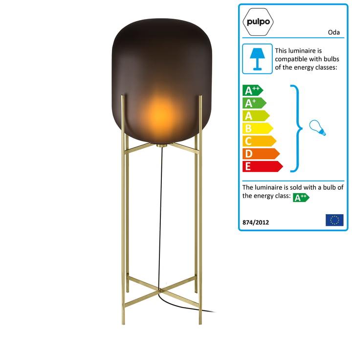 Pulpo - Oda Lamp Big, smoky grey acetato / brass base