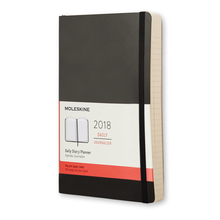 12 Months Diary 2018 Large Softcover by Moleskine in Black