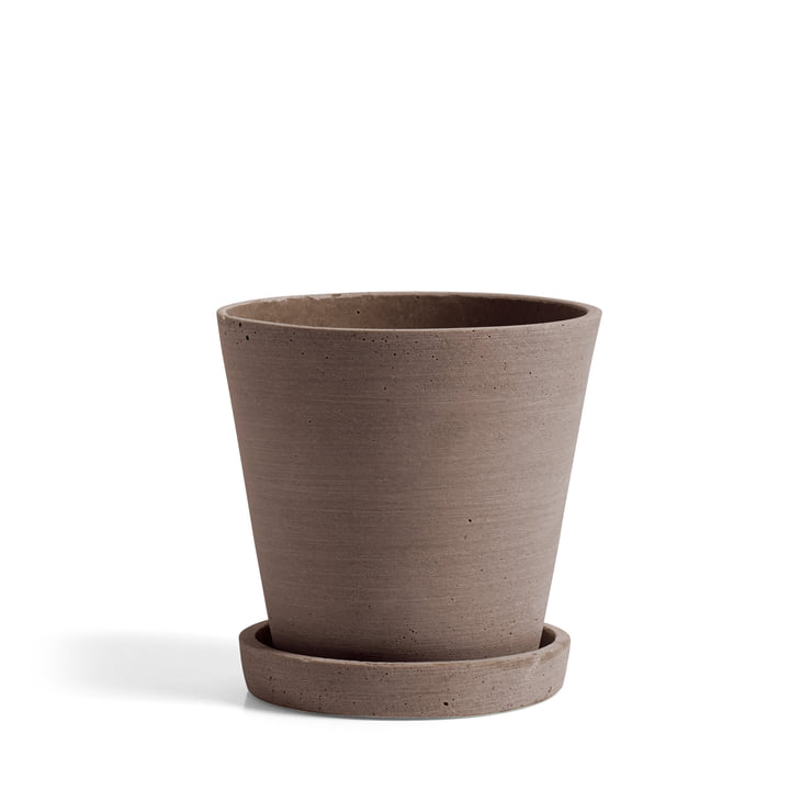 Flower Pot with Saucer M by Hay in Terracotta