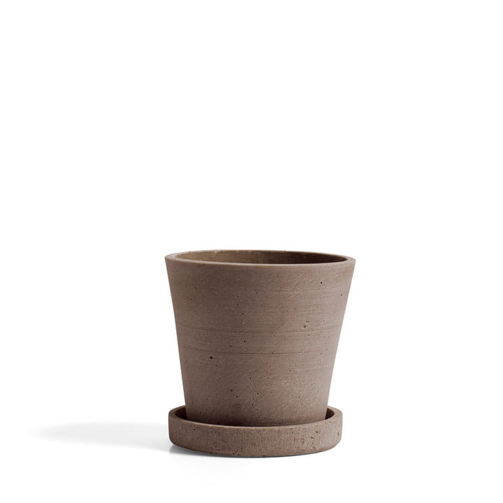 Flower Pot with Saucer S by Hay in Terracotta
