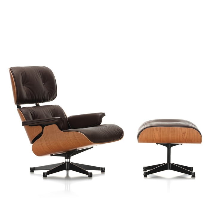 Vitra - Lounge Chair & Ottoman, polished / black sides, american cherrywood / natural chocolate leather, premium (plastic glides)