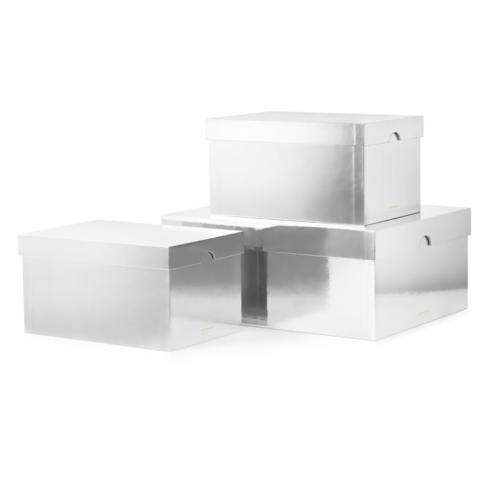 Normann Copenhagen - Metallic Boxes, Silver (Set of 3)