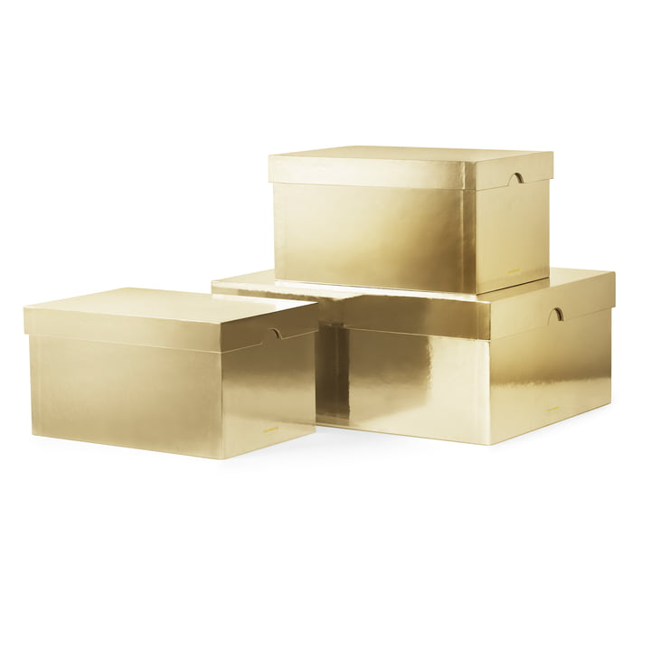 Normann Copenhagen - Metallic Boxes, Gold (Set of 3)