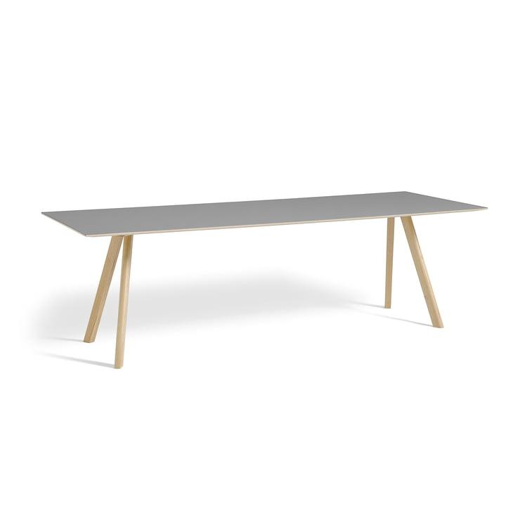 Copenhague CPH30 Dining table 250 x 90 cm from Hay in matt lacquered oak / table top linoleum grey