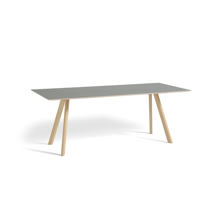 Copenhague CPH30 Dining table 200 x 90 cm from Hay in matt lacquered oak / table top linoleum grey