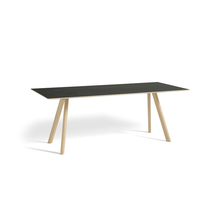 Hay - Copenhague CPH30 Table 200 x 90 cm in Matt Lacquered Oak / Black Linoleum