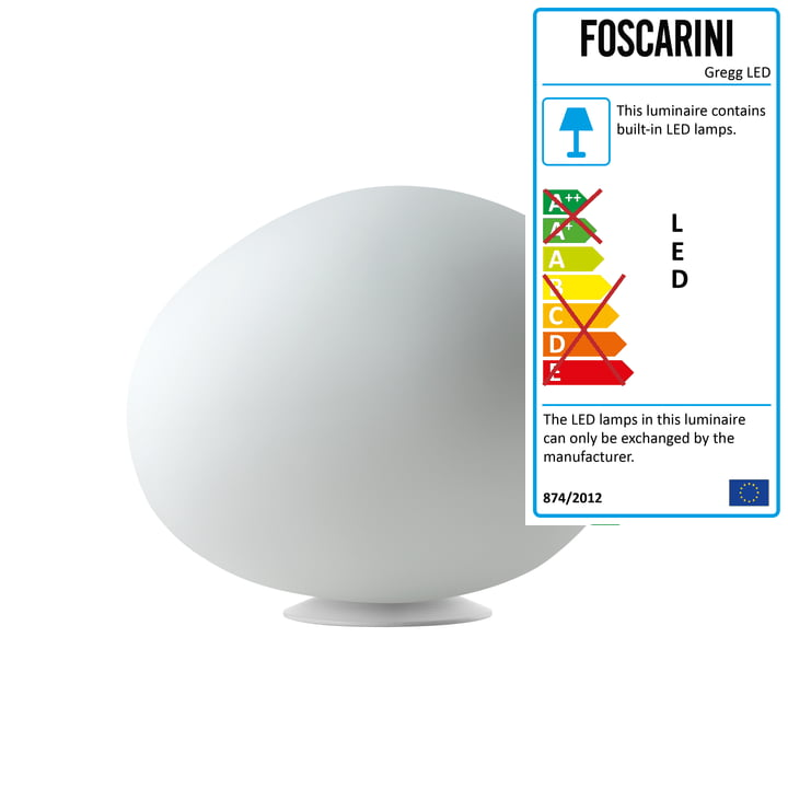 The Foscarini - Gregg Table Lamp LED, Midi / White