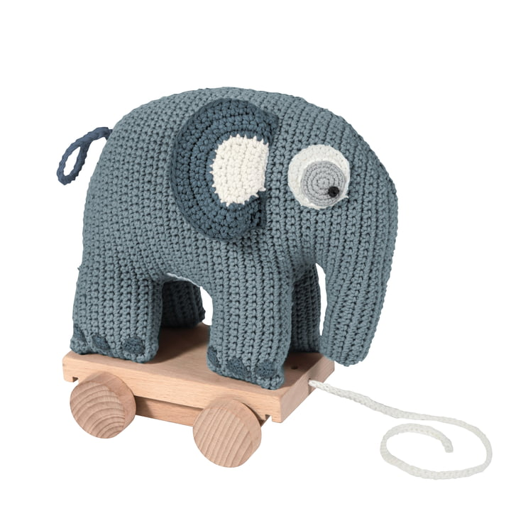 Sebra - Pull-Along Crochet Toy, Elephant in Blue