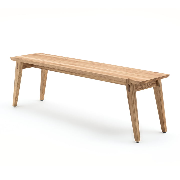 Isolated product image of the 156 Bench 160 x 36 cm by freistil in oak.