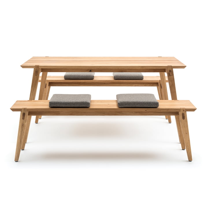156 Dining Table, Bench and Cushions by freistil