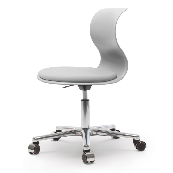 Flötotto - Pro 6 Swivel Chair with PRO-Matic, polished aluminium / granite gray, granite gray seat upholstery, soft castors (with chrome cover)